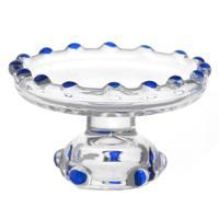 Dolls House Miniature Blue Glass Single Tier Cake Stand