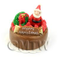 Dolls House Miniature Chocolate Father Christmas Cake