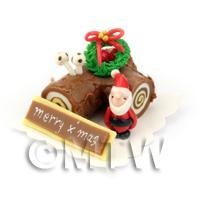 Dolls House Miniature Chocolate Yule Log Cake
