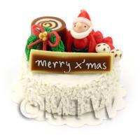 Dolls House Miniature Snowy Christmas Cake