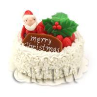 Dolls House Miniature Snowy Father Christmas Cake