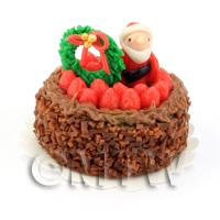 Dolls House Miniature Chocolate Christmas Cake