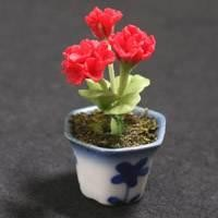 Dolls House Miniature Red Geranium