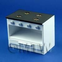 Dolls House Miniature Modern White Kitchen Cob / Stove / Cooker Unit