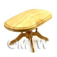 Dolls House Miniature Light Oak Oval Dining Room Table