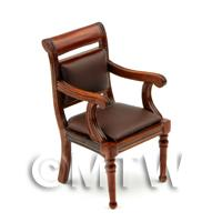 1/12th scale - Dolls House Miniature Mahogany Leather Effect Office Chair