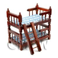 Dolls House Miniature Set Of Mahogany Bunk Beds
