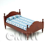 Dolls House Miniature Mahogany Double Bed