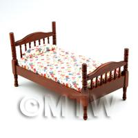 Dolls House Miniature Adult Floral Mahogany Bed