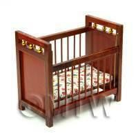 Dolls House Miniature Solid Wood Mahogany Colour Cot