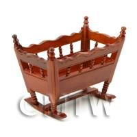 Dolls House Miniature Solid Wood Mahogany Colour Crib