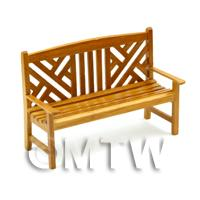 Dolls House Miniature Golden Oak Slatted Garden Bench