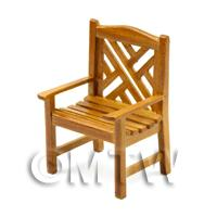 Dolls House Miniature Golden Oak Garden Chair