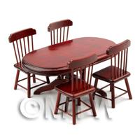 Dolls House Miniature Oval Mahogany Table and 4 Chairs Set
