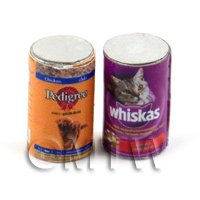 Dolls House Miniature Set of 2 Pet Food Cans