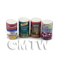 Dolls House Miniature Set of 4 Food Cans