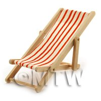 Dolls House Miniature Garden Deck Chair - Orange  and white
