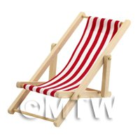 Dolls House Miniature Red and White Garden Deck Chair