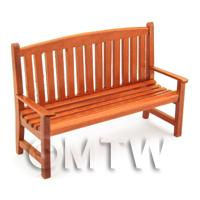 Dolls House Miniature Mahogany Garden Bench