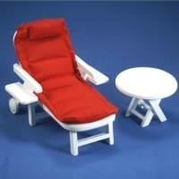 Dolls House Miniature Red Garden Sun Lounger