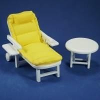 Dolls House Miniature Yellow Garden Sun Lounger