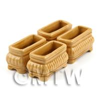 4 Dolls House Miniature Light Brown Miniature Ceramic Flower Boxes / Planter