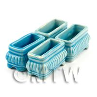 4 Dolls House Miniature Bright Blue Miniature Ceramic Flower Boxes / Planter
