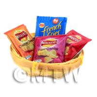 4 Dolls House Miniature Packs of Crisps in a Basket