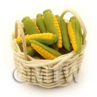 Dolls House Miniature Basket of Handmade Sweet Corn