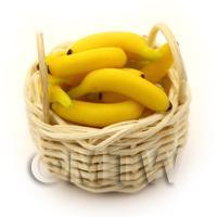 Dolls House Miniature Basket of Handmade Loose Bananas