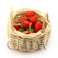 Dolls House Miniature Basket of Handmade Strawberries