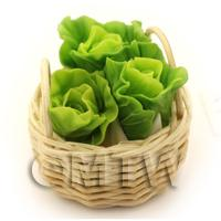 Dolls House Miniature Basket of Hand Made Chinese Lettuces