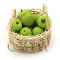 Dolls House Miniature  Basket of Handmade Granny Smith Apples
