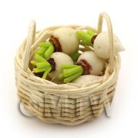 Dolls House Miniature Basket of Handmade Turnips