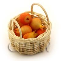 Dolls House Miniature Basket of Handmade Pomegranates