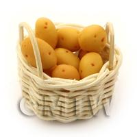 Dolls House Basket of Hand Made Baking Potatoes