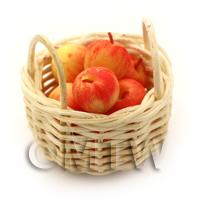 Dolls House Miniature Basket of Hand Made Pink Lady Apples