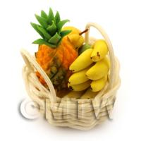 Dolls House Miniature Basket of Hand Made Selection of Fruit