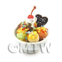Dolls House Miniature Ice Cream In a Ceramic Bowl