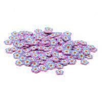 50 Pink and Blue Flower Cane Slices (CNS02)