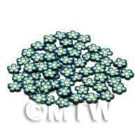 50 Blue Flower Cane Slices - Nail Art (CNS19)