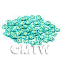 50 Blue Flower Cane Slices - Nail Art (CNS20)