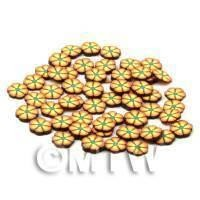 50 Orange and Yellow Flower Cane Slices - Nail Art (CNS26)