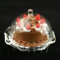 Miniature Glass Cake Stand (A) and Chocolate Strawberry Cake set