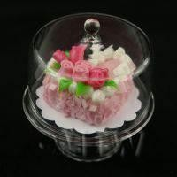 Miniature Glass Cake Stand (I) and Pink Heart Cake set