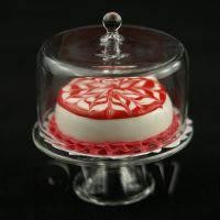 Dolls House Miniature Glass Cake Stand (i) and Red Iced Cake set