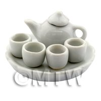 Handmade Dolls House Miniature Shiny White Glazed Ceramic Tea Set