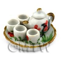 Miniature Handmade Cockerel Motif Ceramic Tea Set