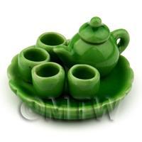 Dolls House Miniature Handmade Green Ceramic Tea Set