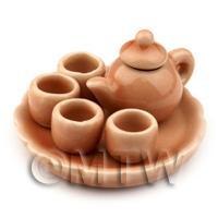 Dolls House Miniature Handmade Salmon Glazed Ceramic Tea Set